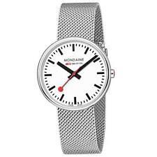 Mondaine A763.30362.11SBM Lady's White Dial SS Mesh Bracelet Watch