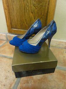 a269daa222707 Details about Thalia Sodi Marissa Women Blue-Snake Open Toe Pumps Heels  Shoes sz 7.5