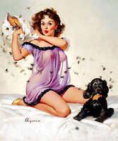 'ticklish Situation' 1957 Gil Elvgren Vintage Pin Up Girl Poster Print 24x20