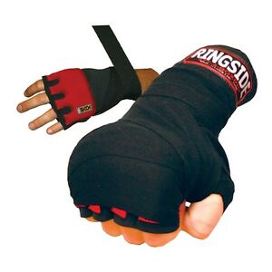 New Ringside Gel Boxing MMA Quick Handwraps Hand Wrap Wraps - Red/Black - S/M