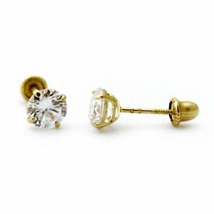 Image Is Loading 14k Yellow Or White Gold Cubic Zirconia Stud