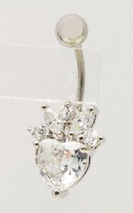 Piercing-ombelico-acciaio-chirurgico-613L-pendente-Cuore-ZIRCONI-butterfly