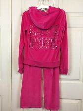Victoria's Secret Pink Size Small Velour Sequin Track Suit Hoodie Jacket Pants