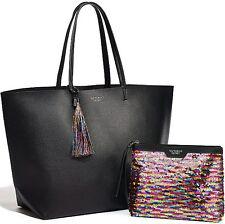 Victoria's Secret Limited Edition Black Faux Leather Tote & Sequin Makeup Bag