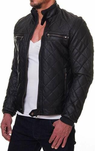 New Stylish Mens Genuine Lambskin Biker Leather Motorcycle Jacket Slim Fit #11