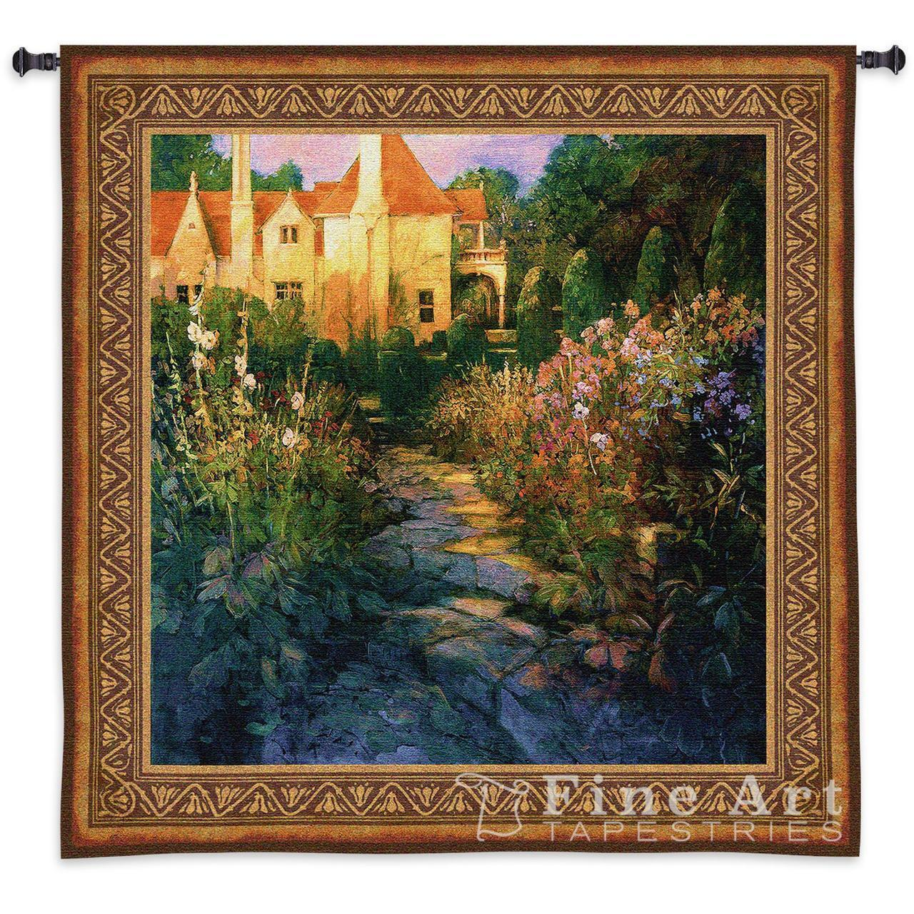 Garden Walk at Sunset Landscape Picture Wall Tapestry