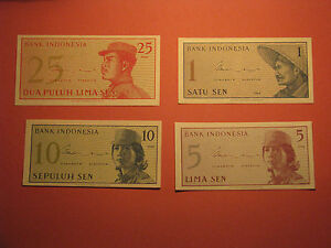 Set-of-4-INDONESIA-1-5-10-25-SEN-Banknotes-1964-UNC-Currency-Note-Paper-Money