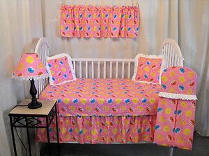 Handmade Sesame Street Baby Girl Pink Nursery Crib Bedding