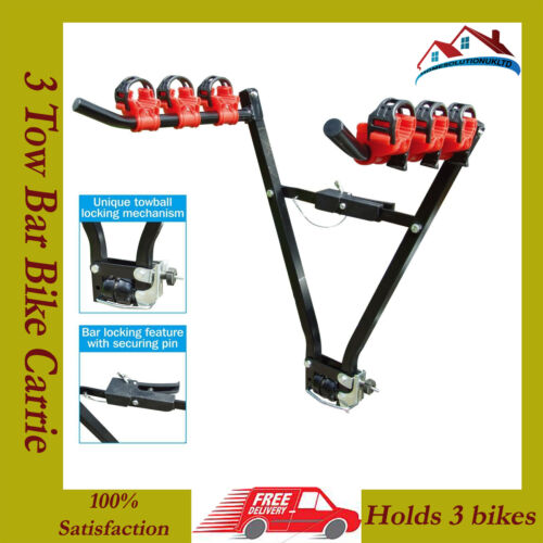 H-DUTY 3 Bike Rear Tow bar Mount Cycle Bicycle Carrier Car Rack Tow Bar Tow ball