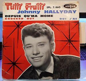 Rare-EP-Johnny-Hallyday-034-Tutti-frutti-034-3-Grande-Languette-centreur-1961