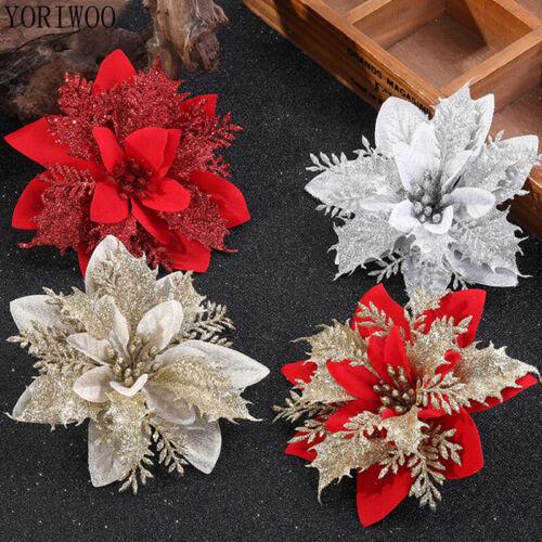 20//10x Artificial Christmas Tree Glitter Poinsettia Xmas Decor Flowers 13cm Gift