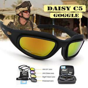 8f768c079a46 Men C5 Polarized 4 Lenses Military Goggles Hunting Sunglasses Desert ...