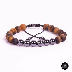 Kavak Handmade Men's Bracelet Genuine Tiger eye stone  Acerina beads
