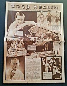 """1935 ALKA SELTZER / NERVINE Dr. Miles' Laboratories Ad Paper 4 PGS 10.75""""x15"""""""