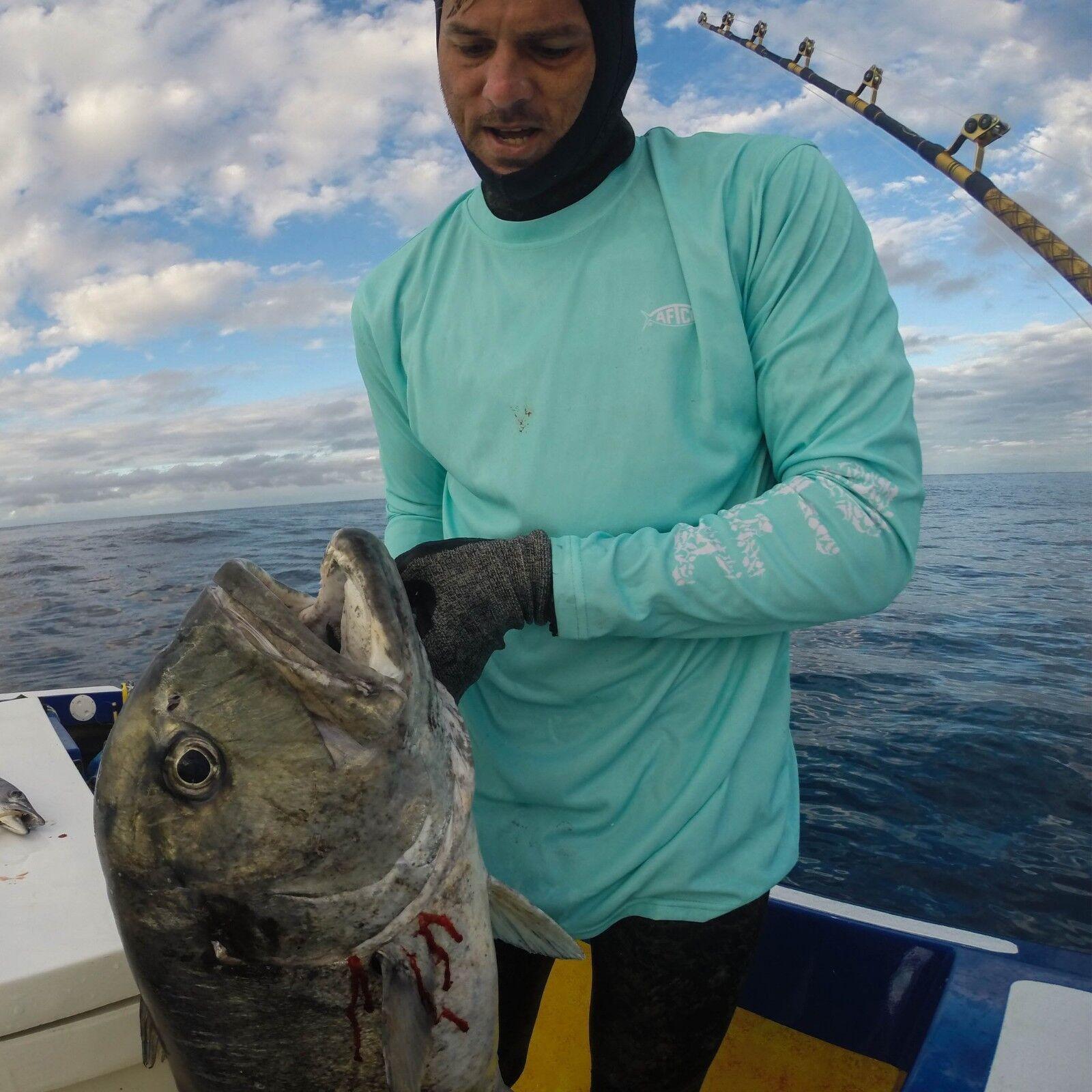 Aftco JigFish Performance Fishing Sun Shirt - UPF 50 - Sky bluee -Free Ship
