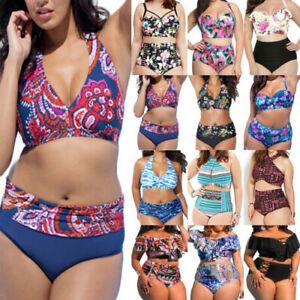 Plus-Size-Womens-High-Waist-Bikini-Set-Swimwear-Swimsuit-Bathing-Suit-Beach-Wear
