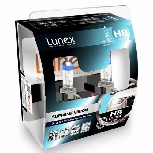 100/% more light Headlight Car Bulbs 3700K Twin Lunex H8 Halogen Supreme Vision