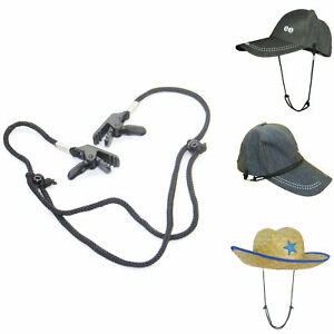 2PCS HAT RETAINER WINDPROOF ADJUSTABLE CLIP LANYARD FOR