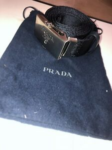 11333679ba5aac PRADA NAVY BLUE NYLON BELT WITH ENGRAVED LOGO SLIDER BUCKLE | eBay