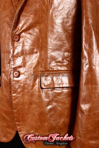 MEN/'s Milano TAN VETRATO Lambskin ITALIANO 2 Bottoni MONTATO Leather Jacket Blazer
