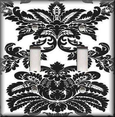 Metal Light Switch Plate Cover - Black White Damask Design Damask Home Decor