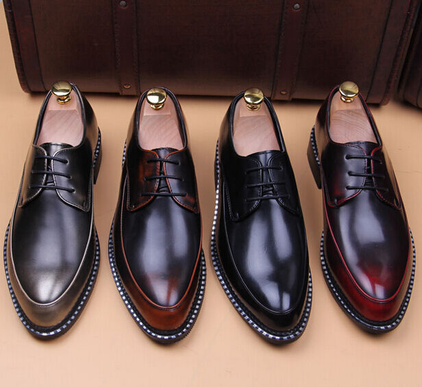 New Mens Formal Business Pointed Toe Retro Lace-Up Dress Casual Wedding shoes