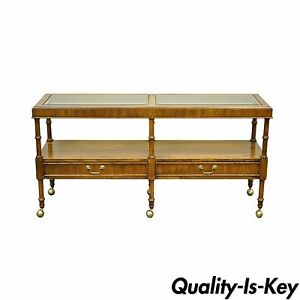 Image Is Loading Vintage Hollywood Regency Faux Bamboo 2 Drawer Console