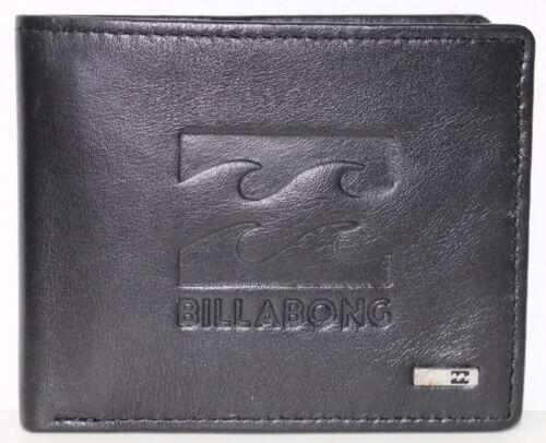 NWOT. Men/'s Billabong Wave Black Leather Flip Wallet RRP $49.99