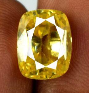 12.25 Ct Yellow Sapphire Ceylon Natural Gemstone Cushion Cut AGI Certified L5126