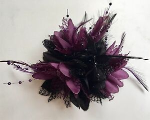 Black and Dark Purple Fascinator on Clip Pin Hairband Feathers Laces ... 4550af24e43