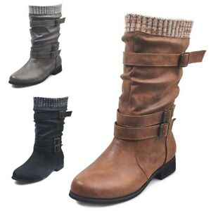 WOMENS MID CALF BOOTS LADIES RIDING