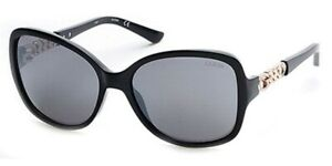 Guess-GU-7452-01C-Black-Gold-Silver-Mirrored-Grey-Gradient-Women-Sunglasses-New