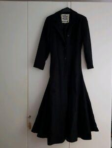 new arrival 33829 64a9d Details zu Langer Mantel Gothic Damen S schwarz Wollmantel Hard Leather  Stuff Metal Matrix