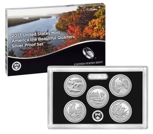2017 US Mint Silver Proof Set National Park Quarters 5  W// COA /& Box Best Price