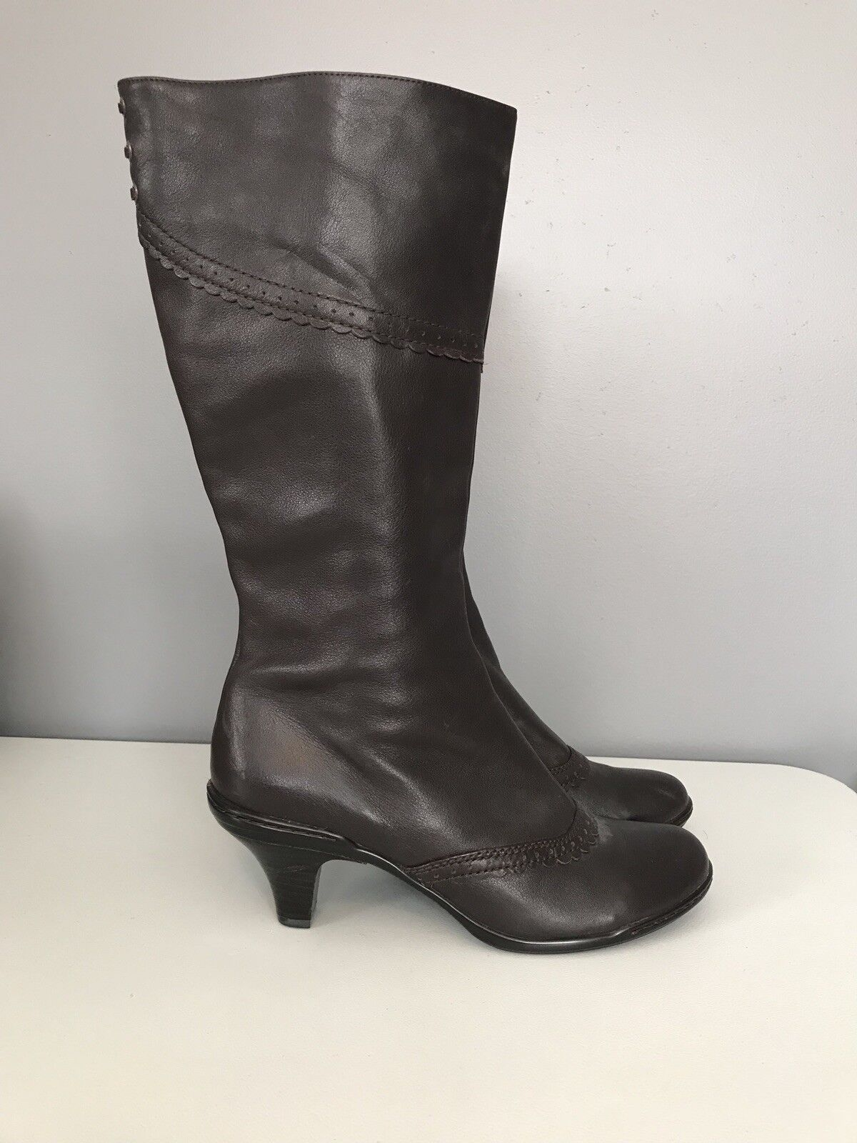 Sofft Dark Brown Leather Tall Full Zip Boots 'Ceville' Womens Size 10