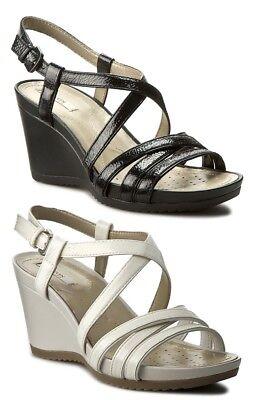 GEOX NEW RORIE D72P3B scarpe donna sandali zeppa plateau pelle bianco nero | eBay