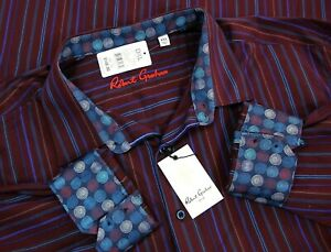 NWT-Robert-Graham-Mens-Flip-Cuffs-Long-Sleeve-Button-Up-Shirt-Red-Striped-Sz-4XL
