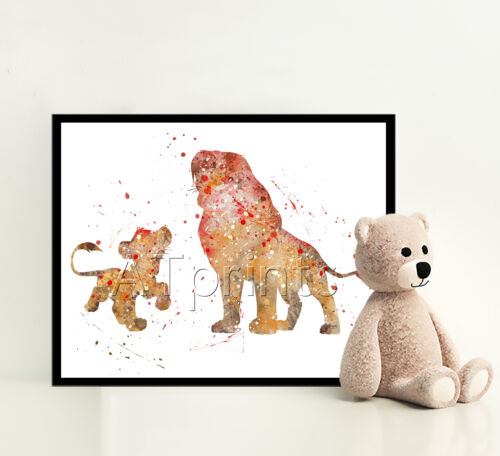 THE LION KING Print Poster Disney Watercolour Framed Canvas Wall Art Nursery