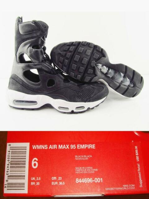 $300 NIKE Air Max 95 EMPIRE Black Leather Boots Women 6 Shoes (No Sales Tax)