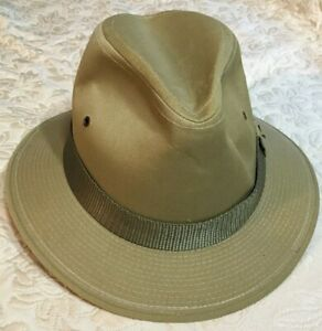 1224f1cf5 Details about Fedora Hat Vintage Pedigree Fifth Ave Mens Small Khaki Twill  Made in USA