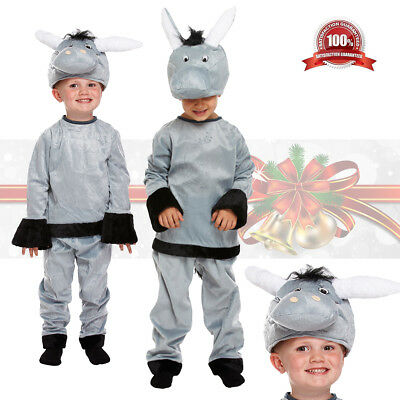 DONKEY NATIVITY PANTO ANIMAL SET WITH SOUND Girls Boys Fancy Dress Costume Kit