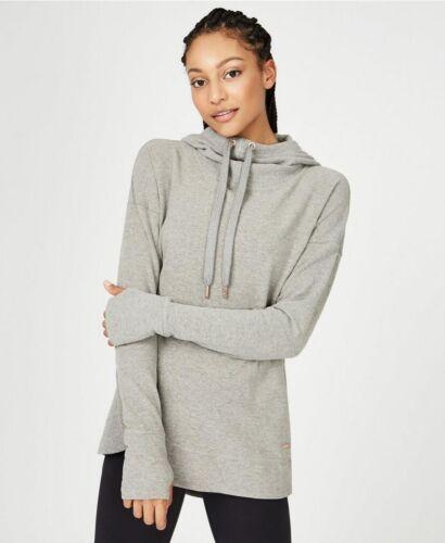 Light grey Sweaty Betty Luxe Invigorate hoody size L RRP £115