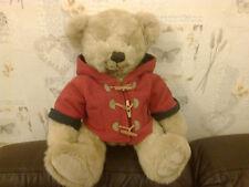 14 INCH HIGH HARRODS TEDDY BEAR WITH RED DUFFLECOAT