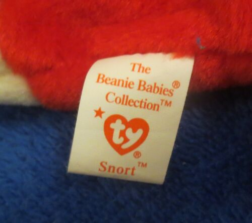 Ty Beanie Baby Snort the Bull 4th Generation Hang Tag PVC Filled 1995