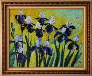 Irises-Original-framed-oil-on-canvas-16-034-x20-034-impressionistic-painting