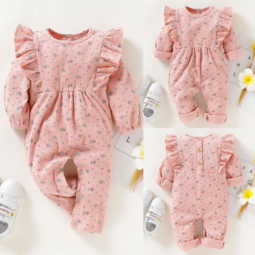 Newborn Baby Girl Flower Outfit Ruffle Romper Jumpsuit Bodysuit Playsuit Clothes