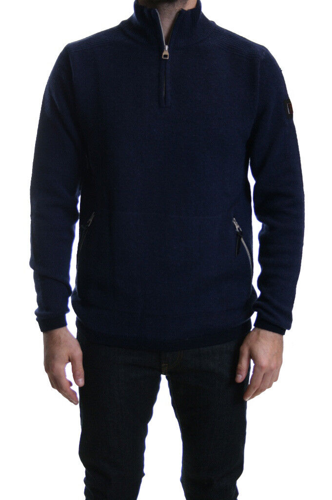 Luke 1977 Spout Funnel 1 4 Neck Zip wolleJumper Dark Navy SALE