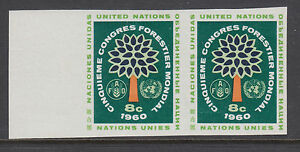 UN Sc 82PI MNH. 1960 8c World Forestry Congress, imperf Proof Pair, Rare, VF