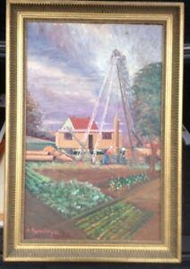 Dieter-bleeping-Castle-1938-Oil-Paintings-Sample-Hole-in-VF-in-Neuruppin-Antique