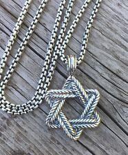 "David Yurman Chevron Star of David on 19"" Chain in Sterling Silver 925"
